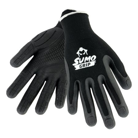 West Chester Gloves - Sumo Ultimate Grip Work Gloves - Knit Shell - Elastic Wrist - Mens Large - Black - 1 Pair