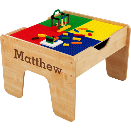 KidKraft - Personalized 2-in-1 Activity Table, Brown Serif Font Boy's Name, Matthew