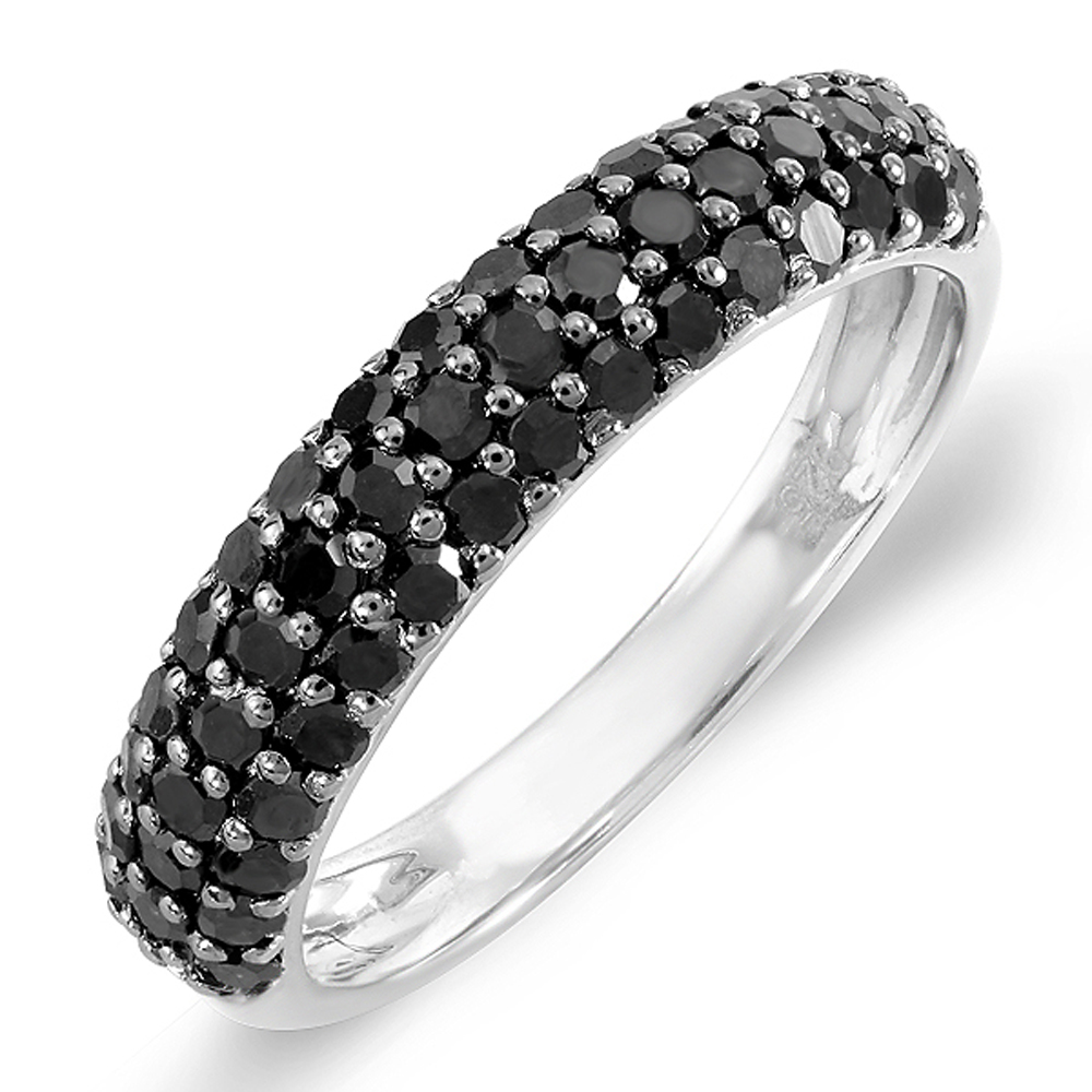 1.00 Carat (ctw) Sterling Silver Black Round Diamond Ladies Wedding Anniversary Band Stackable Ring 1 CT