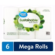 Great Value Sustainable Bath Tissue, 6 count