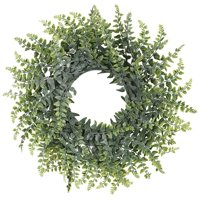 Coolmade Artificial Green Leaf Wreath, 14'' Boxwood Round Wreath for Front Door Wall Window Party Décor