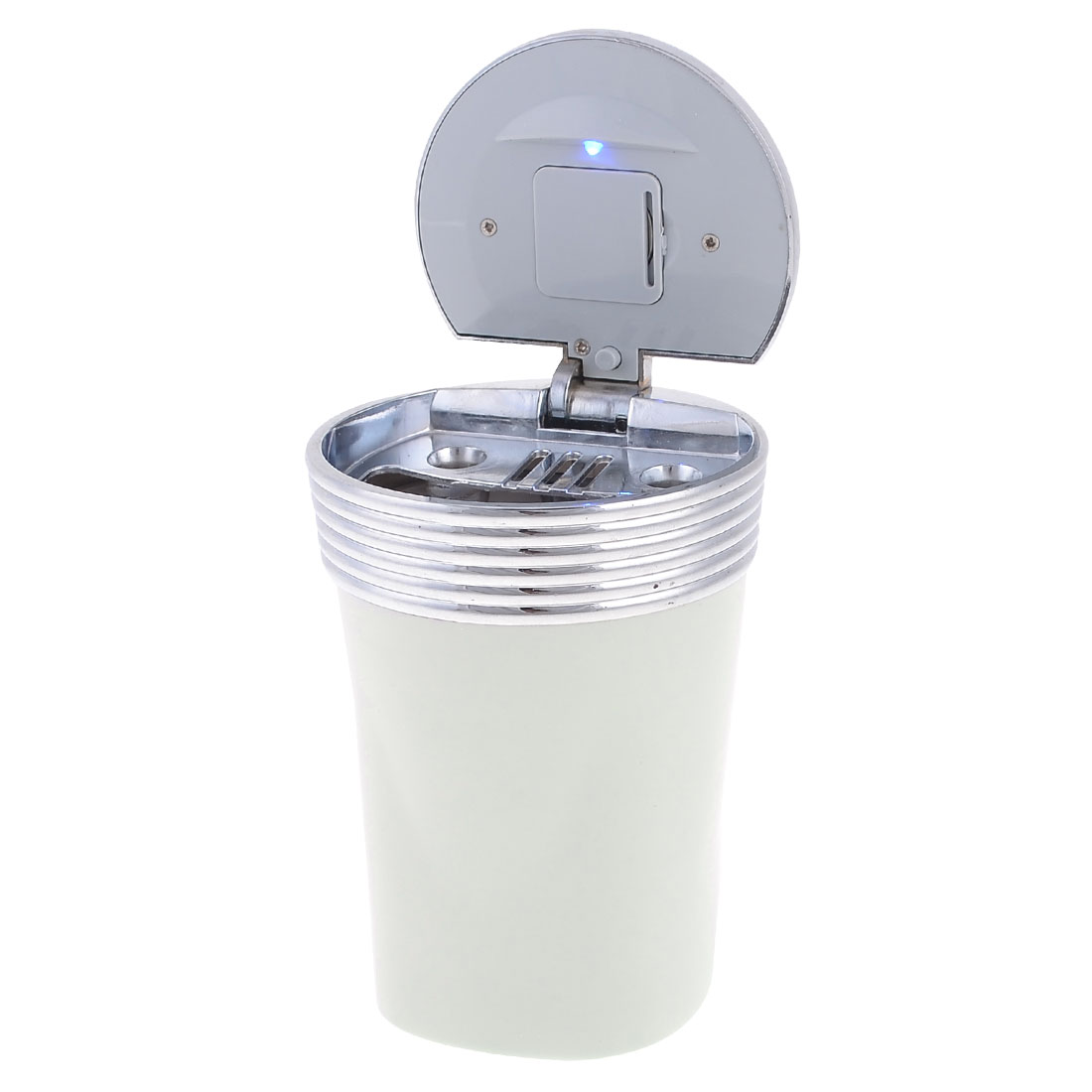 Travel Cylinder Shape Smokeless Ashtray Cup Holder White Gray for Car