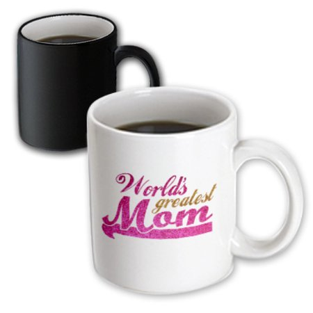 3dRose Worlds Greatest Mom - hot pink and gold text - Best mom - good for Mothers day - parent child love, Magic Transforming Mug, (Best Hot Tubs In The World)
