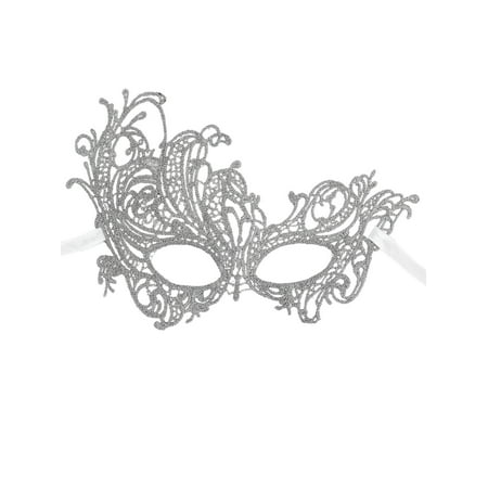 Women's Mythical Goddess Lace Phoenix Masquerade Mask, Silver