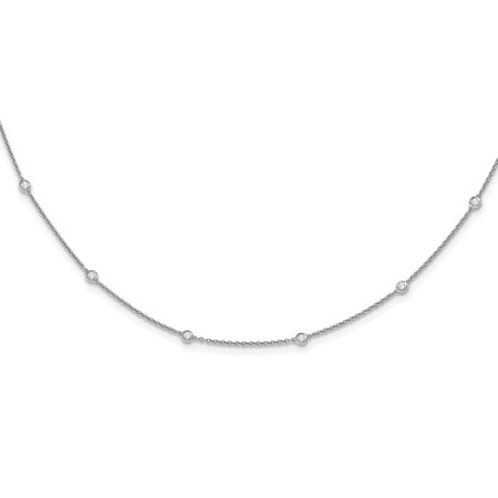 (14k White Gold Womens Lab-Grown Diamond Rolo Necklace 20inch (0.55ct / VS-SI))