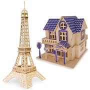 Set of 2 Eiffel Tower and House Model Kit Wooden 3D Puzzles