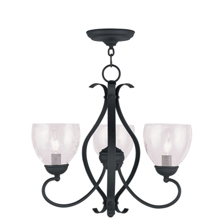 - Chandeliers 3 Light With Hand Blown Clear Water Glass Black size 20 in 180 Watts - World of Crystal