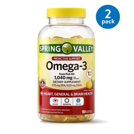 (2 pack) Spring Valley Omega-3 from Fish Oil Softgels, Proactive Health, 1040 Mg, 180 (Gnc Fish Oil)