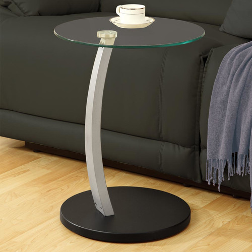 Monarch Accent Table Black / Silver Bentwood W/ Tempered Glass