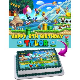 Stupendous Super Mario Brothers Mario Versus Bowser Castle Themed Birthday Personalised Birthday Cards Petedlily Jamesorg