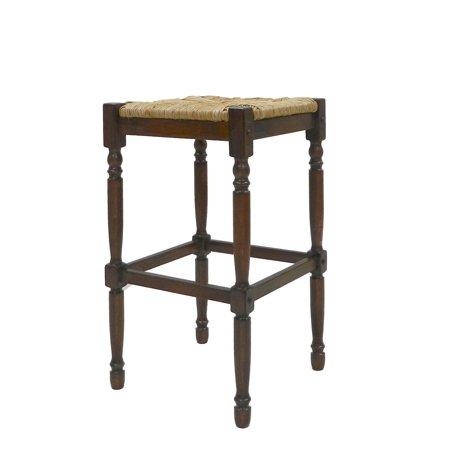 Carolina Gilbert 29.5 in. Bar Stool - Chestnut with Rush Seat Rush Seat Chair