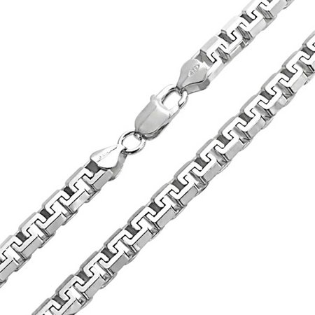 Heavy Solid Franco Square Chain Link For Men Greek Key  Strong .025 Gauge For Men 925 Sterling Silver Made Italy 20 In