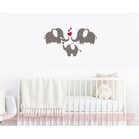 Baby Nursery Wall Decor Sticker Elephant Family Hearts Vinyl Art Decals Castle Gray/Red
