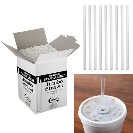 500 Drinking Straws Paper Wrapped Slim Plastic 8