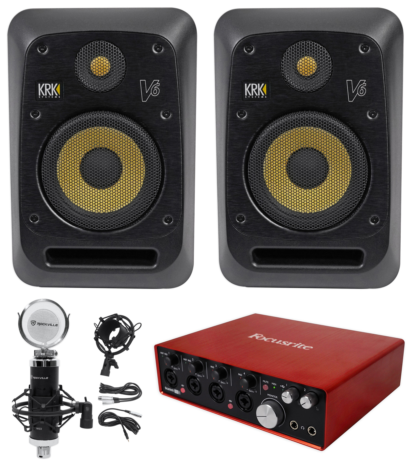 "(2) KRK V6S4-NA 6"" Powered Studio Monitors+Recording Interface+Studio Microphone by KRK"