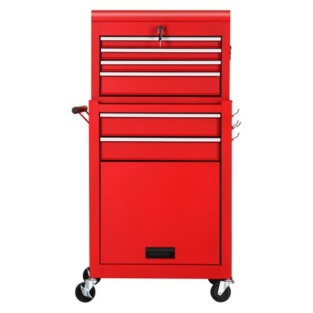 Gymax 2 in 1 Rolling Cabinet Storage Chest Box Garage Toolbox Organizer w/ 6 Drawers Drawer Red Mobile Tool Cabinet