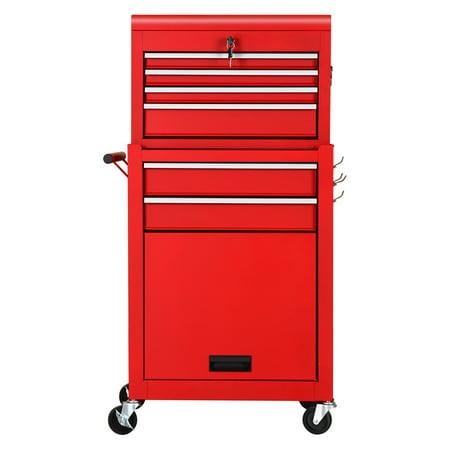 Gymax 2 in 1 Rolling Cabinet Storage Chest Box Garage ...