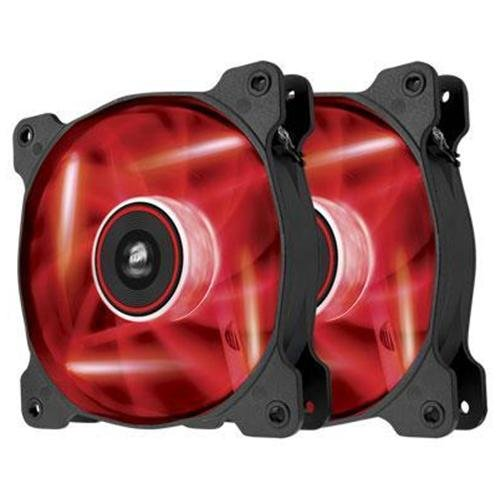 """Corsair Air Series Af120 Led Red Quiet Edition High Airflow 120mm Fan - Twin Pack - 1 X 4.72"""" - 1500 Rpm - Plastic (co-9050016-rled)"""