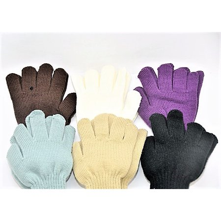 Set of 6 Women's Long Cuff Magic Gloves in Assorted Colors -