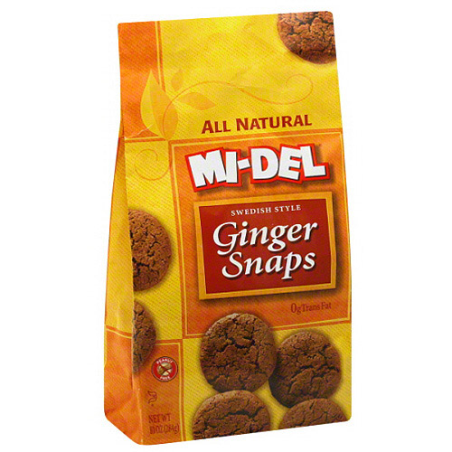 MI-DEL All Natural Ginger Snaps Cookies, 10 oz (Pack of 12)