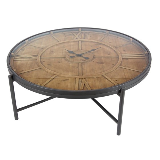 Decmode industrial 14 x 41 inch stained iron and wood for Clock coffee table round