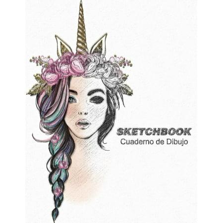 Sketchbook Cuaderno de Dibujo : Cuaderno de Practica Para Dibujar Bocetos de Moda Para Niñas Y Adolescentes 8.5 X 11 in