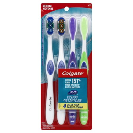 - Colgate 360 Adult Toothbrush, Medium - 4 Count