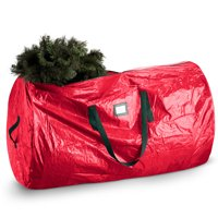 ShopoKus Large hristmas Tree Storage Bag - Fits Disassembled Tree Up To 7 Ft Tall Waterproof Material, reinforced Handles, And Smooth Zipper - 52 x 30 x 30 in. - Red