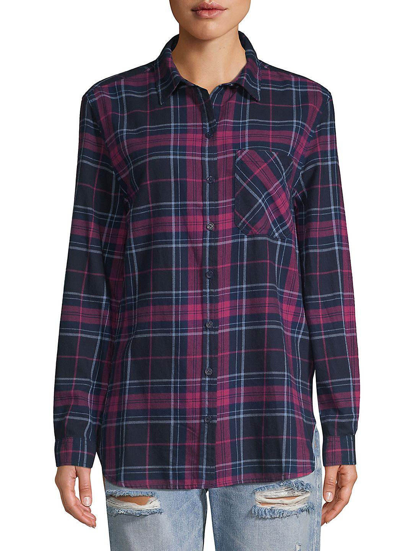 Plaid Cotton Button-Down Shirt