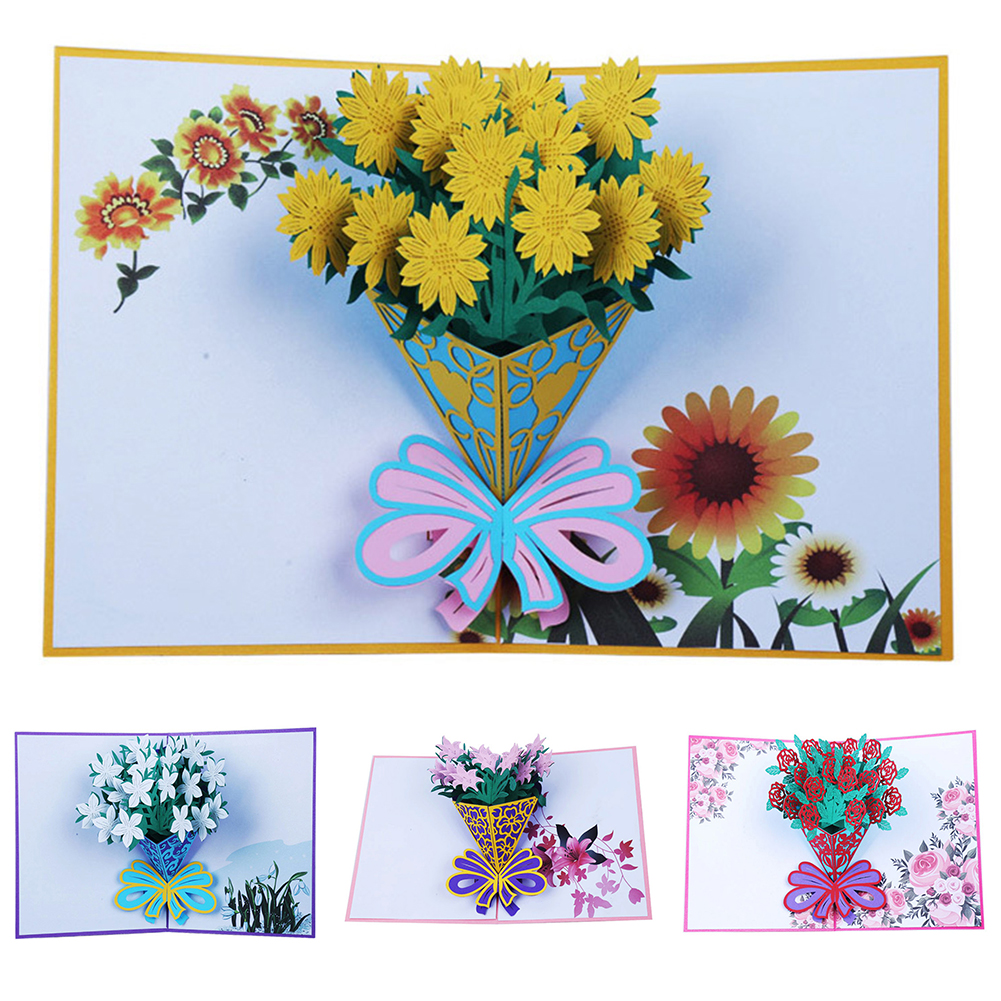 HiCoup 3D Pop Up Flower Greeting Card Thanksgiving Birthday Xmas Valentine's Day Gift