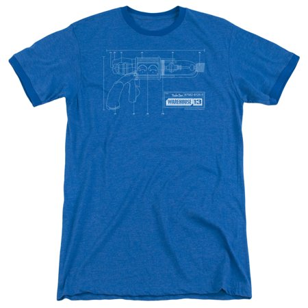 Warehouse 13 Tesla Gun Mens Adult Heather Ringer Shirt