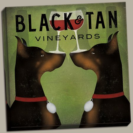 Black and Tan Vineyards - Double Doberman Pinschers Wine by Ryan Fowler; One 12x12 Hand-Stretched Canvas
