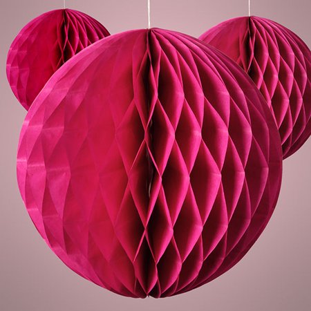 Rose Pink 8 inch Honeycomb Tissue Paper Party Decoration Balls, 3 pack