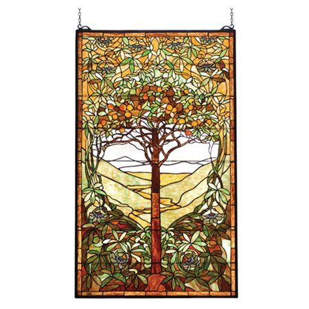 20 X 34 Large Tiffany Style Stained Gl Window Panel Tree