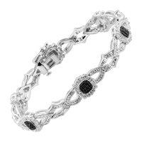 Station Bracelet with Black & White Diamonds in Sterling Silver