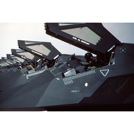 U.S. Air Force F-117 Nighthawks from the 37th Tactical Fighter Wing are lined up on the flight line Poster Print 24 x