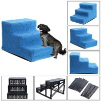 Pet 3-Steps Stairs Soft Portable Cat Dog Ramp Ladder Small Climb With Fleece Cover For Puppy Kitten High Bed Non-Slip-Red