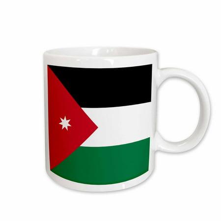 3dRose Flag of Jordan - Jordanian red black white green with white star - Arabic country - Arab world - Ceramic Mug, (Jordan 5 Low White Fire Red Black)