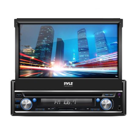 Pyle Single DIN Android Stereo Receiver System with Pop-Out Touchscreen, GPS Navigation, BT and Wi-Fi