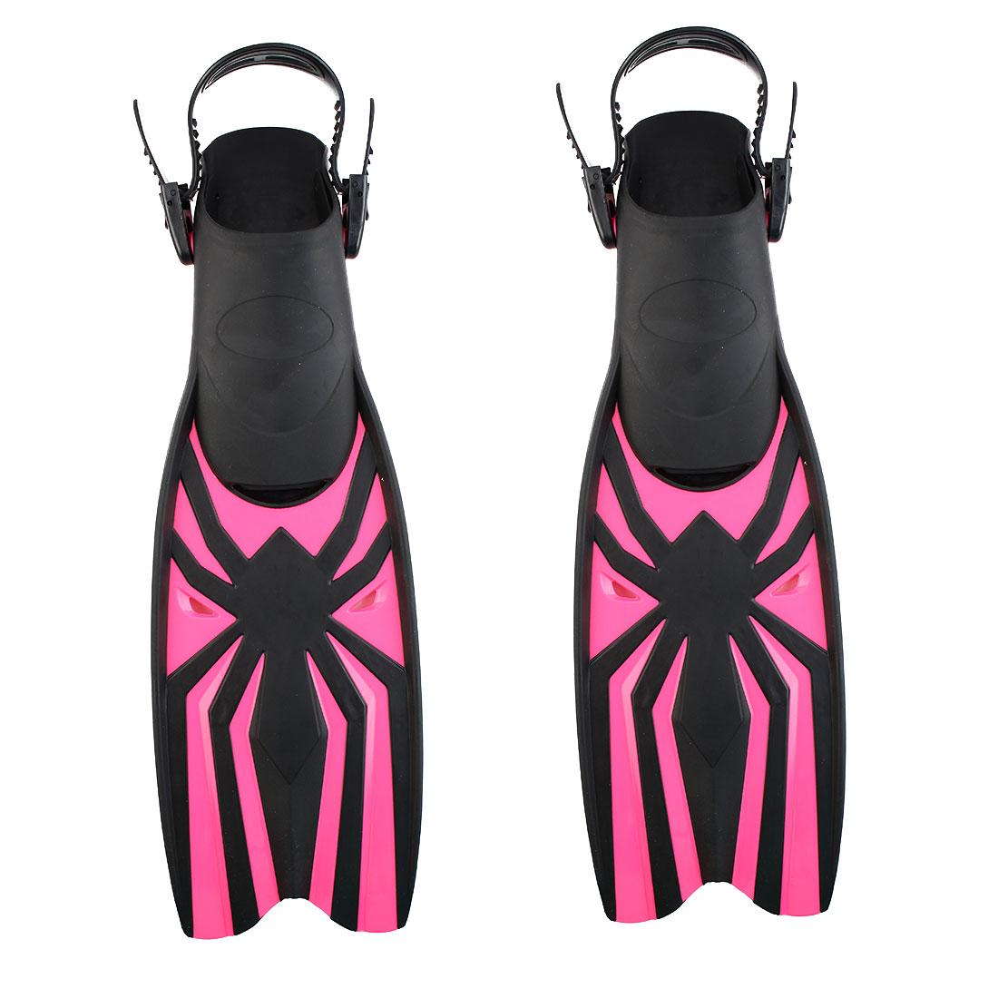Swim Diving Snorkel Training Adjustable Floating Fin Flipper Fuchsia Size M Pair