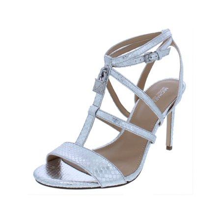 MICHAEL Michael Kors Womens Antoinette Leather Snake Embossed Evening Sandals