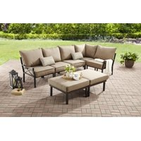 Mainstays Sandhill 7-Piece Outdoor Patio Sofa Sectional Set, Beige, Metal