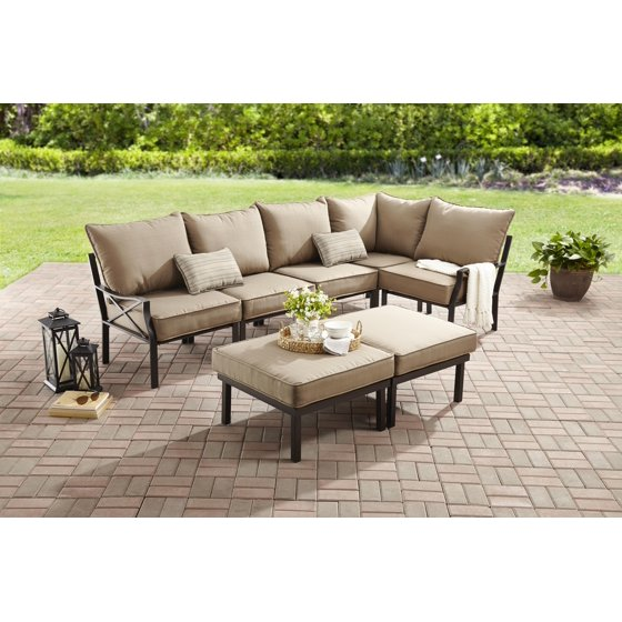 Mainstays Sandhill 7-Piece Outdoor Sofa Sectional Set, Seats 5 with Beige  Cushions