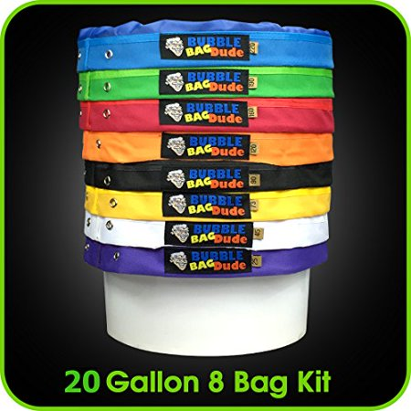 BUBBLEBAGDUDE 20 Gallon 8 Bag Set - Herbal Ice Bubble Essence Extractor Kit - Comes with Pressing Screen and Storage (Bag Kit Screen)