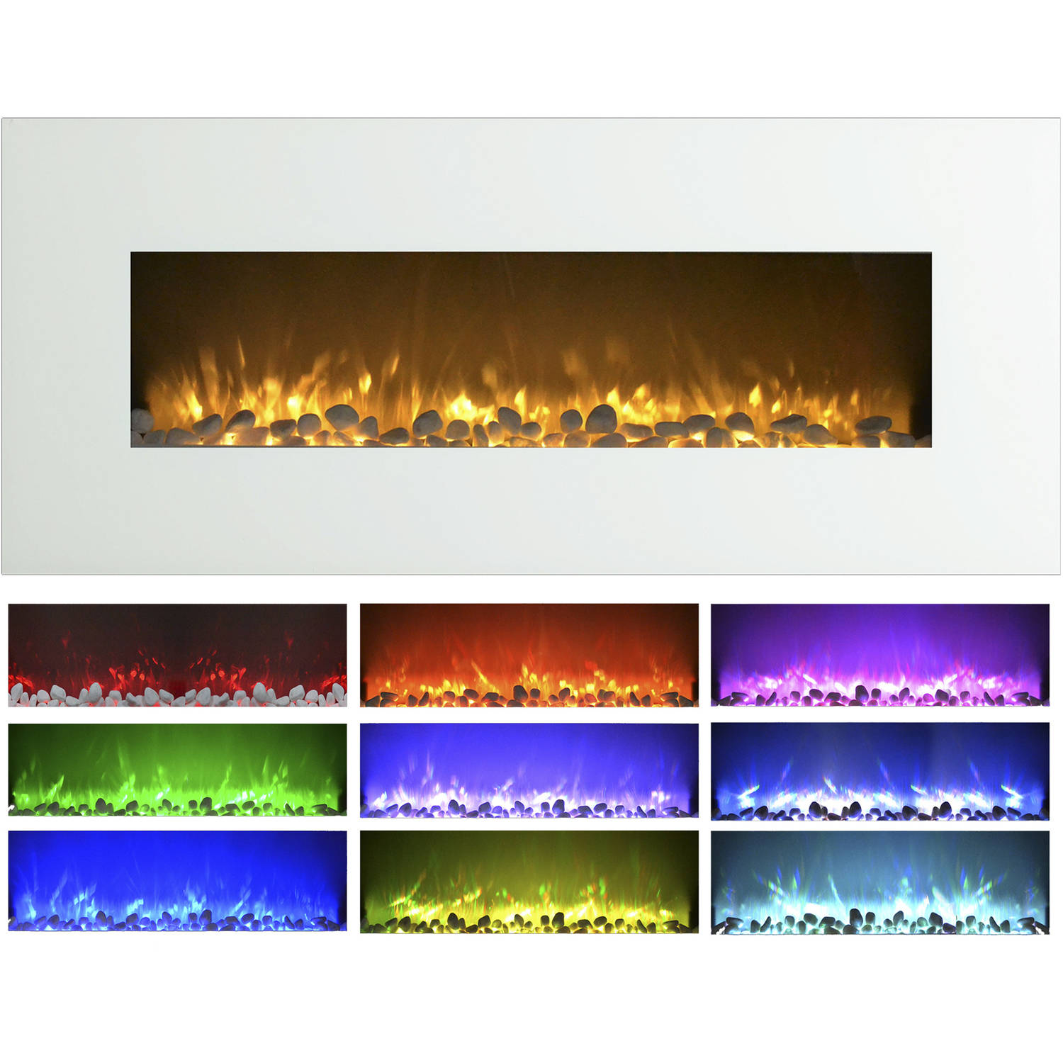 Electric Indoor Fireplace Wall Mounted Color Changing Led Flame And Remote 50 Inch By Northwest White