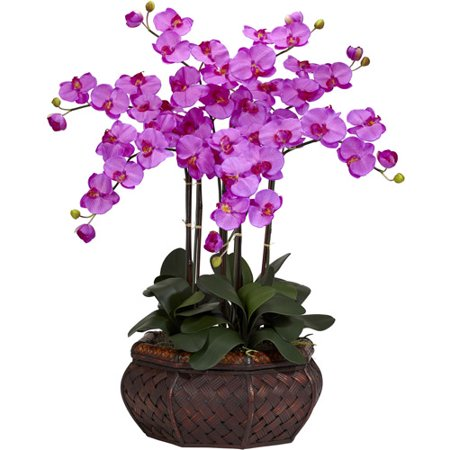 Nearly Natural Large Phalaenopsis Silk Flower Arrangement, Orchid ()