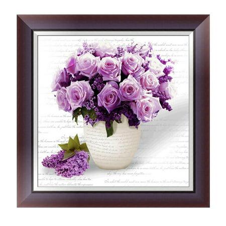 5D DIY Purple Rose Diamond Embroidery Painting Handmade Wall Decoration Cross Stitch Printing Craft Kits
