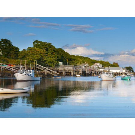 Lobster Fishing Boats and Jetties, New Harbor, Pemaquid Peninsula, Maine, New England, USA Print Wall Art By Alan