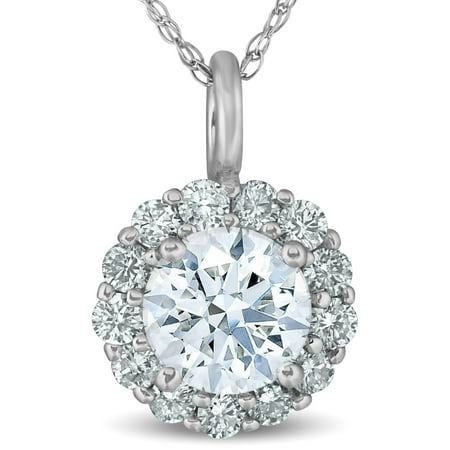 - 1 Ct Halo Diamond Pendant 14k White Gold 18