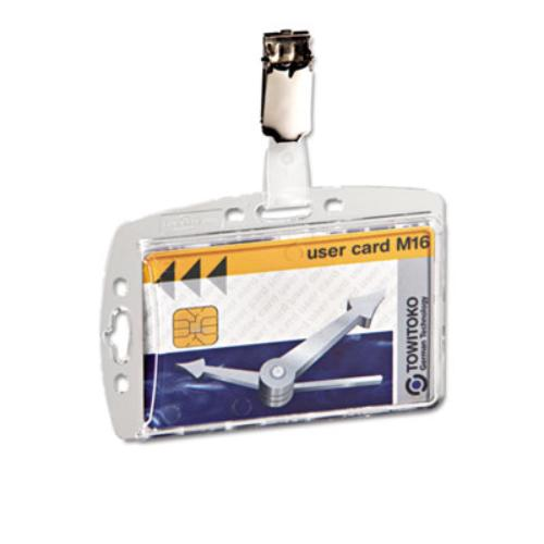 "Durable 8005-19 Security Pass Holder With Clip - 2.1"" X 3.3"" - Acrylic - 25 / Box (800519)"